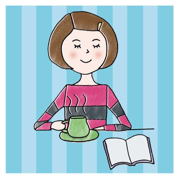 おひとりさまで食書をする女性.jpg